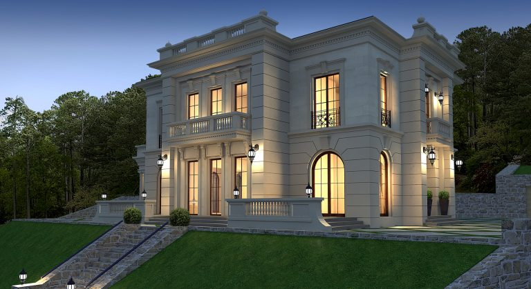 Proiect de vila stil clasic, aflat in zona cu cladiri vechi valoroase, realizat intr-un stil arhitectural nobil, atemporal.