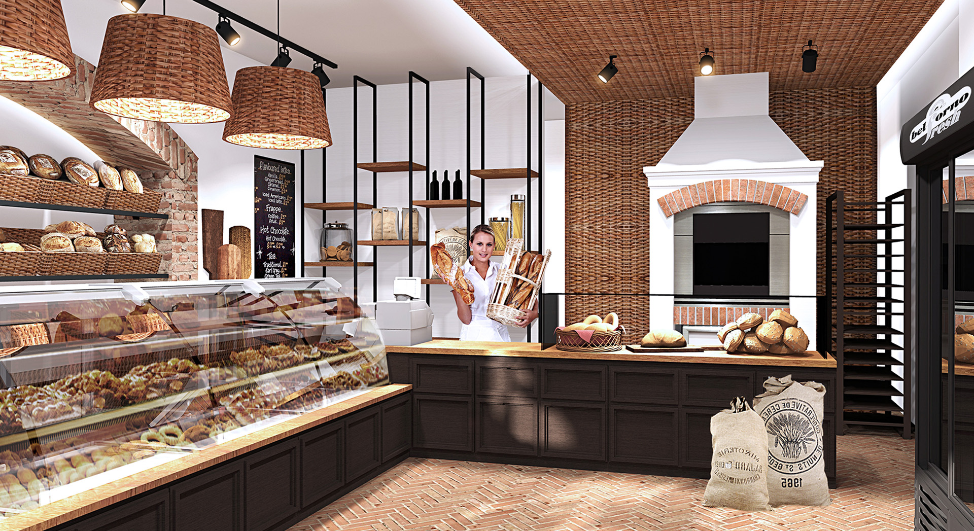 Magazin brutarie amenajat intr-un mix de modernitate industriala si caldura traditionala - o reinventare inedita a conceptului invechit de magazin de paine.