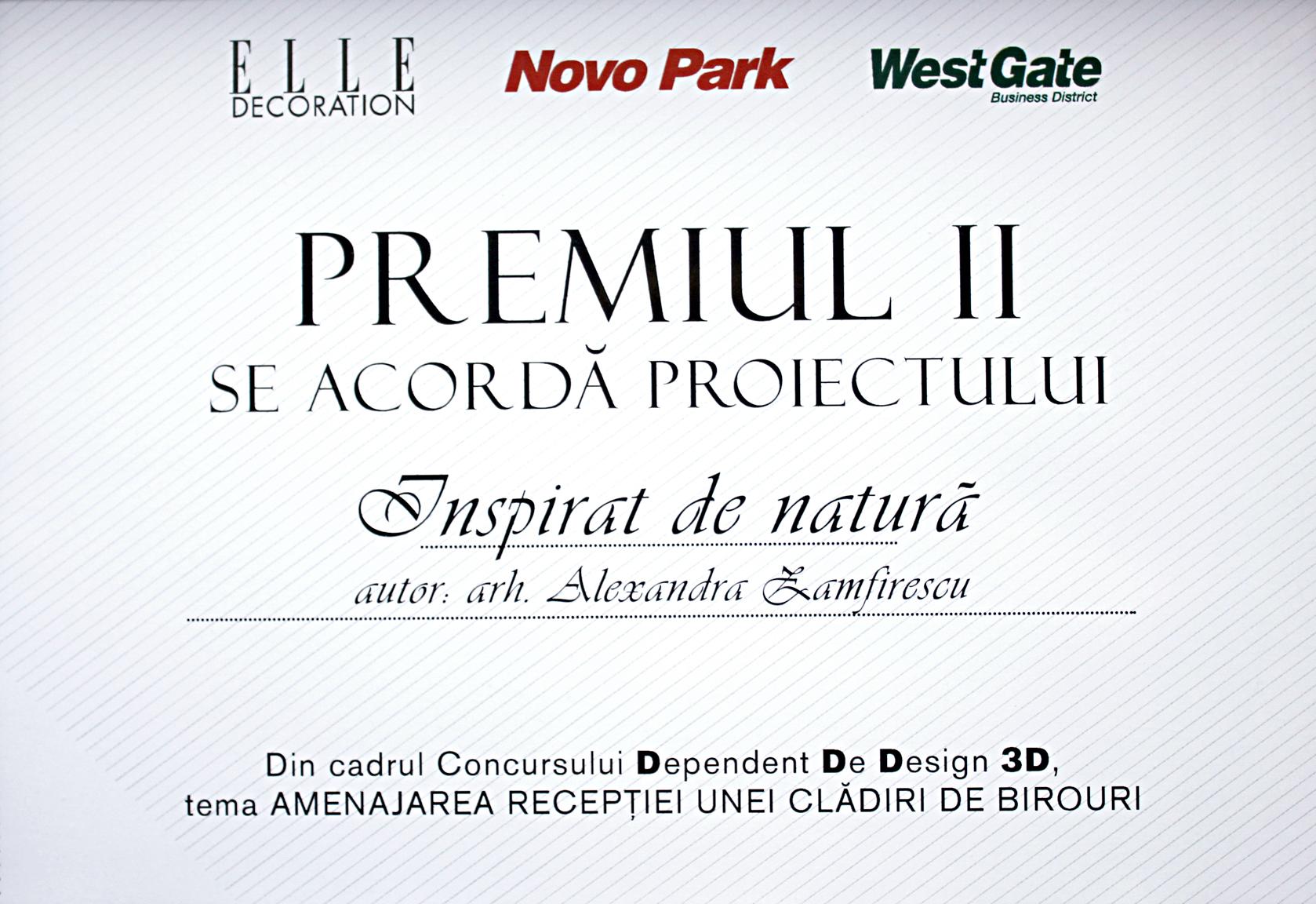 Proiect design interior receptie de birouri premiat in concursul Elle Decoration Romania