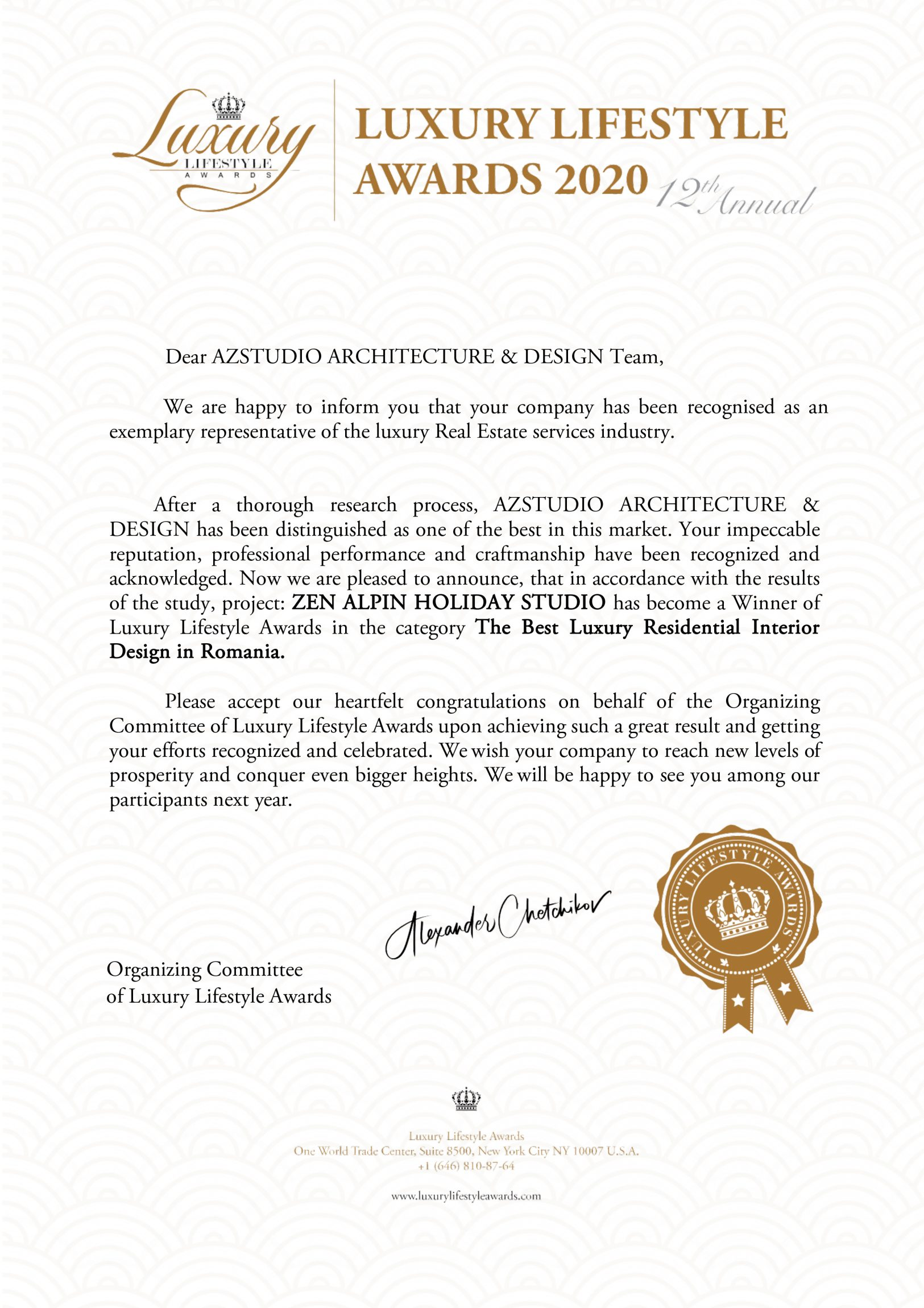 Proiect premiat Luxury Lifestyle Awards 2020