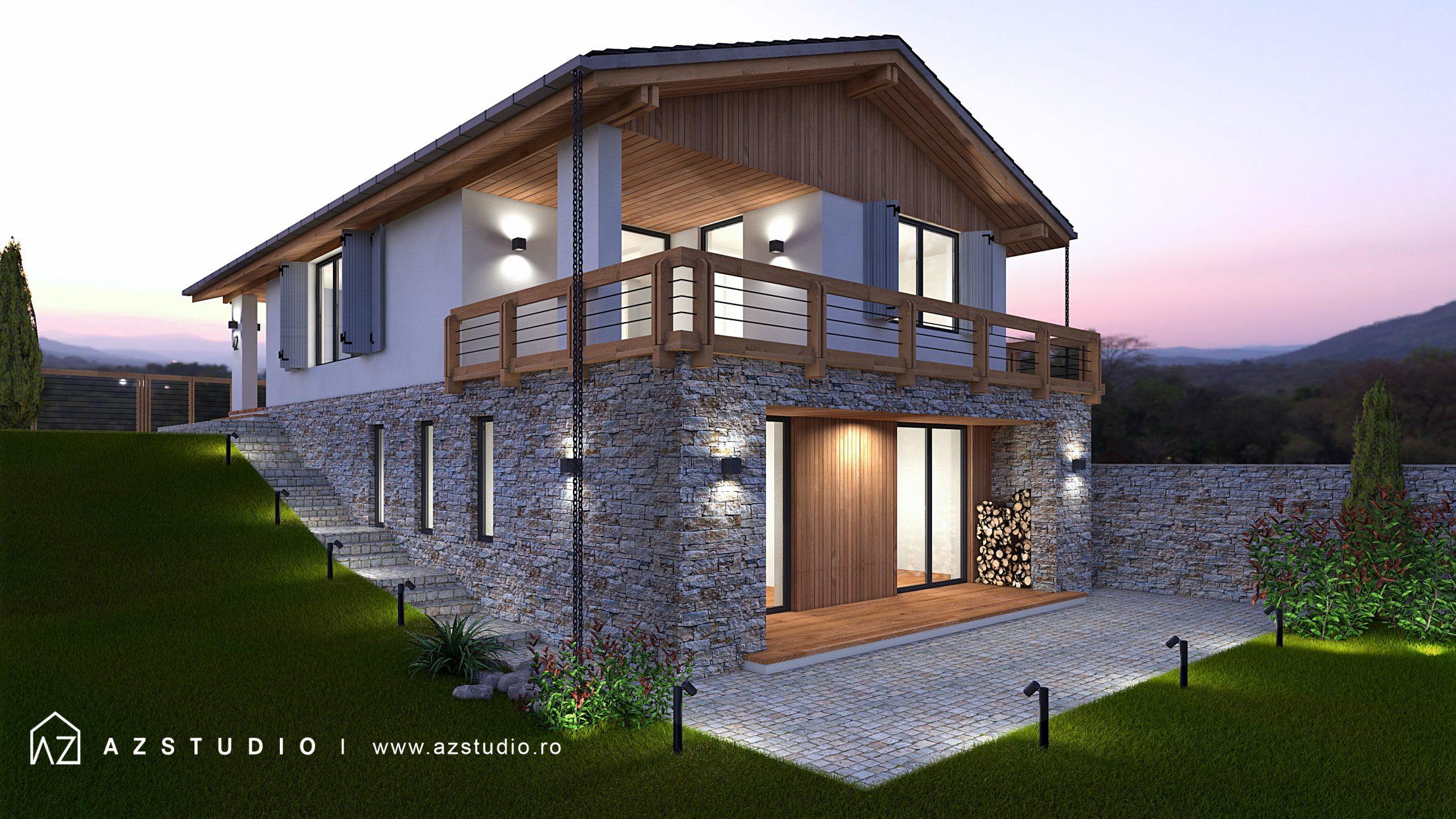 Casa pe teren in panta, parter si etaj, 164mp, proiect pentru zona de deal, stil montan, rustic.