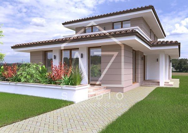 Proiect de casa moderna cu etaj 187mp