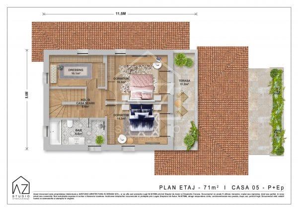 Planul etaj al locuintei cu etaj de 187mp construiti