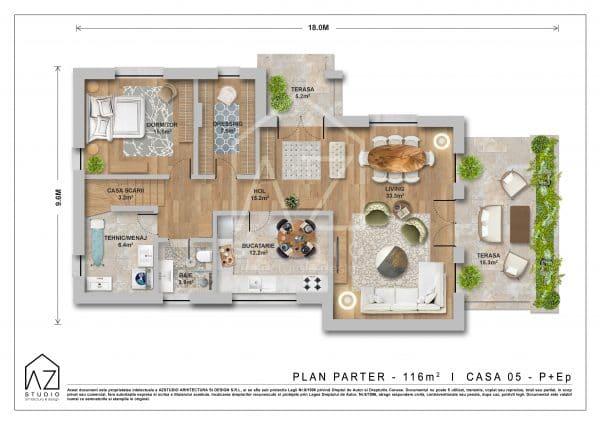 Planul parter al locuintei cu etaj de 187mp construiti