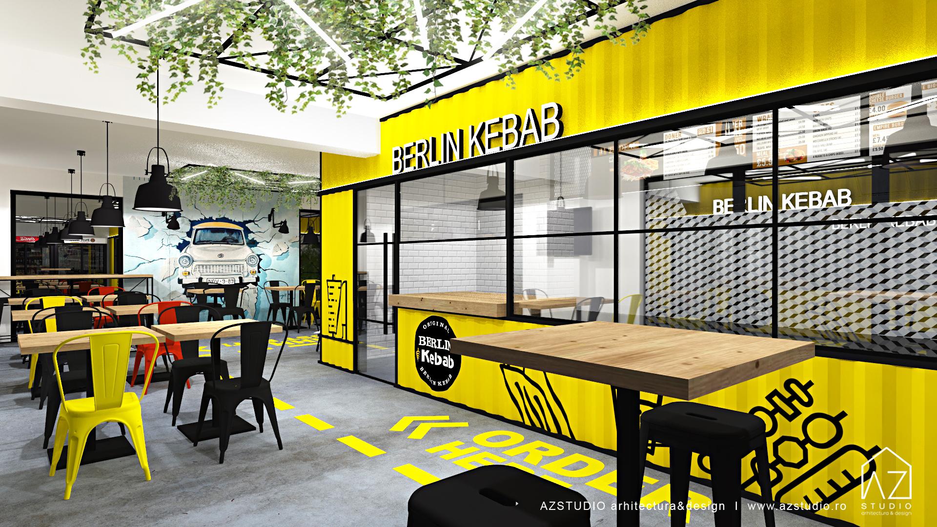 Amenajare restaurant stil urban industrial - proiect design interior HORECA
