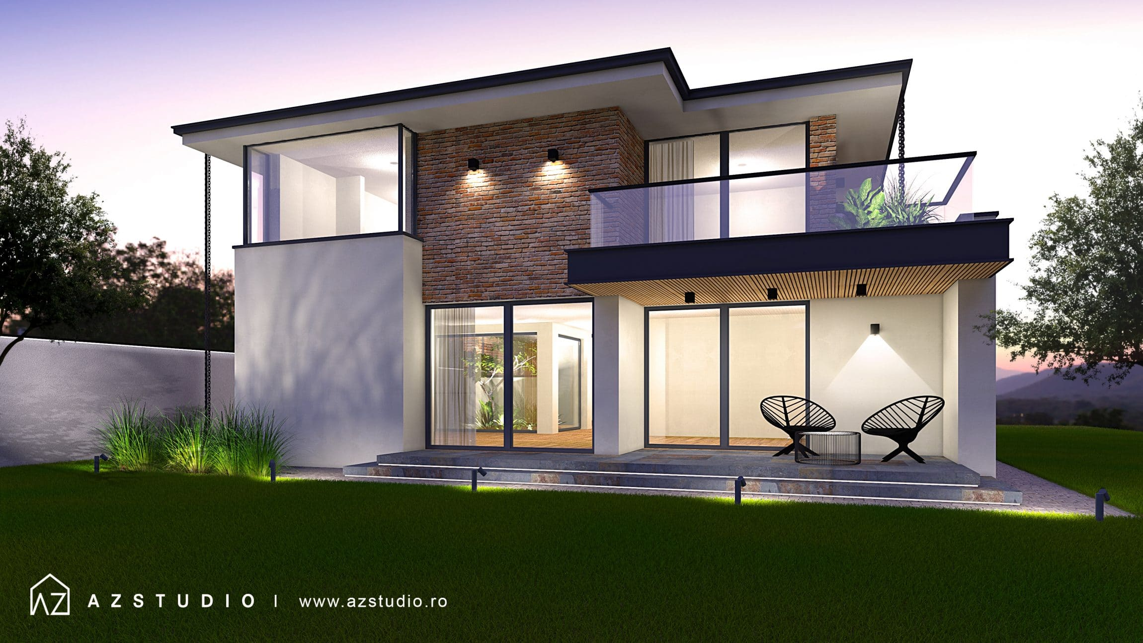 Casa moderna placata cu caramida