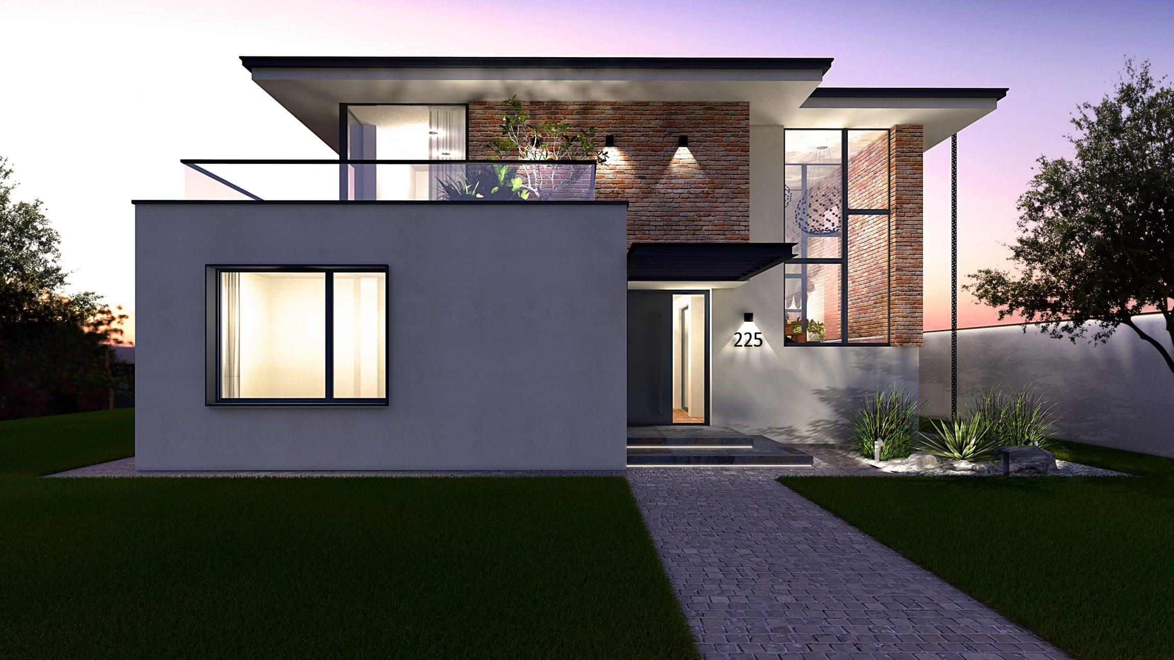 Casa moderna cu caramida pe fatada