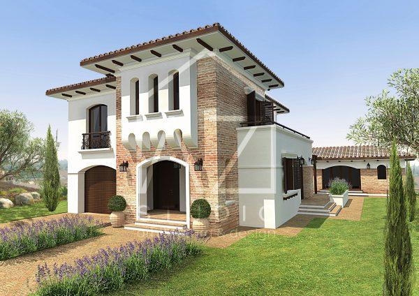 Casa mediteraneana cu etaj si decor caramida 222mp