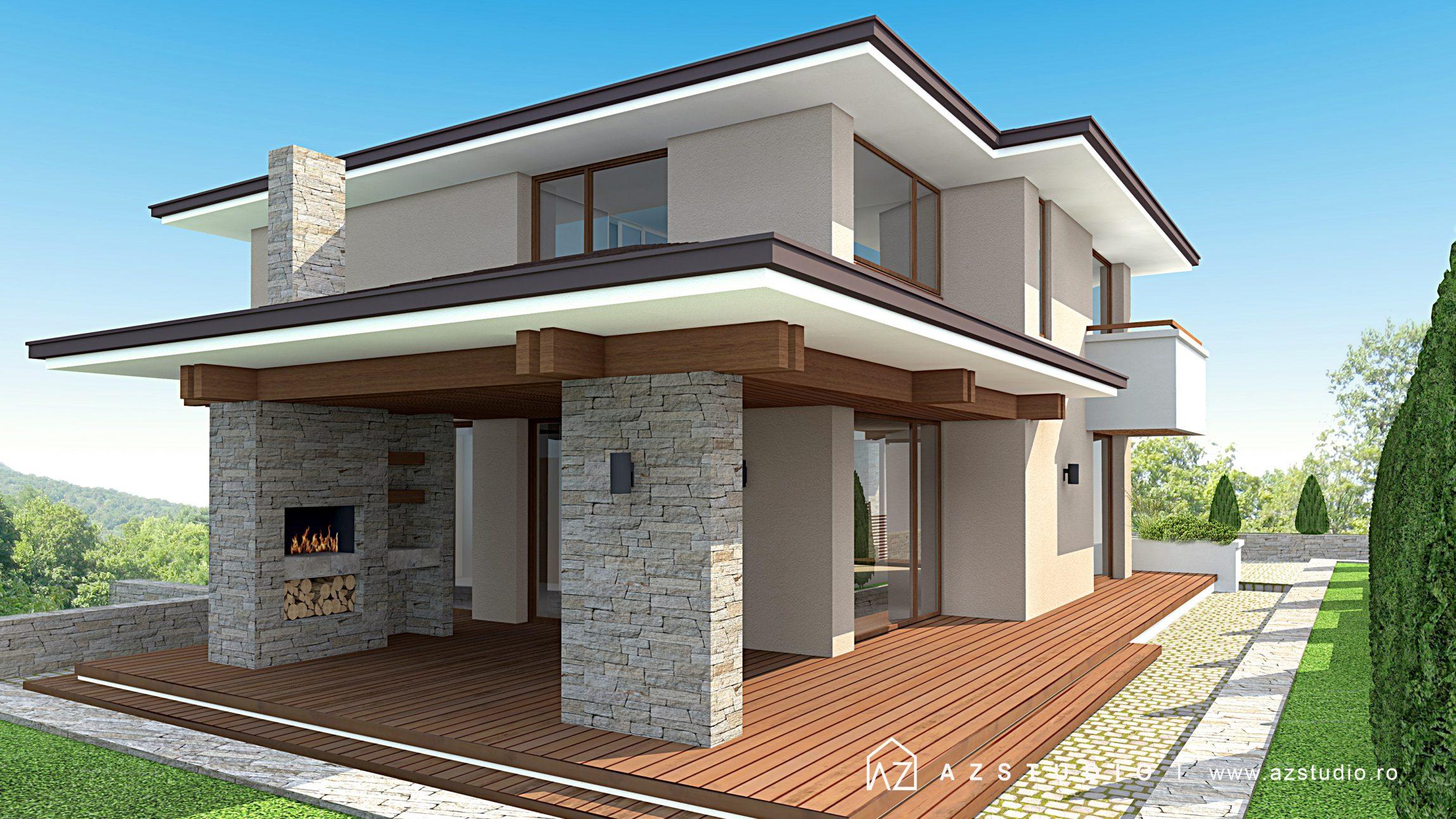 Casa moderna cu etaj 206mp